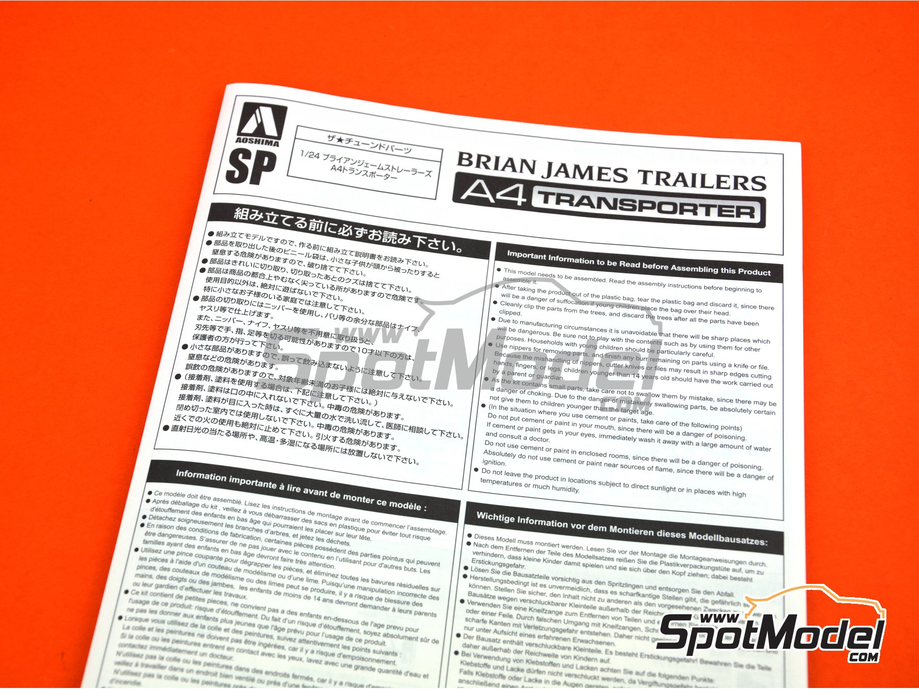 Image 7: Brian James Trailers A4 transporter | Model kit in 1/24 scale manufactured by Aoshima (ref. 05260)