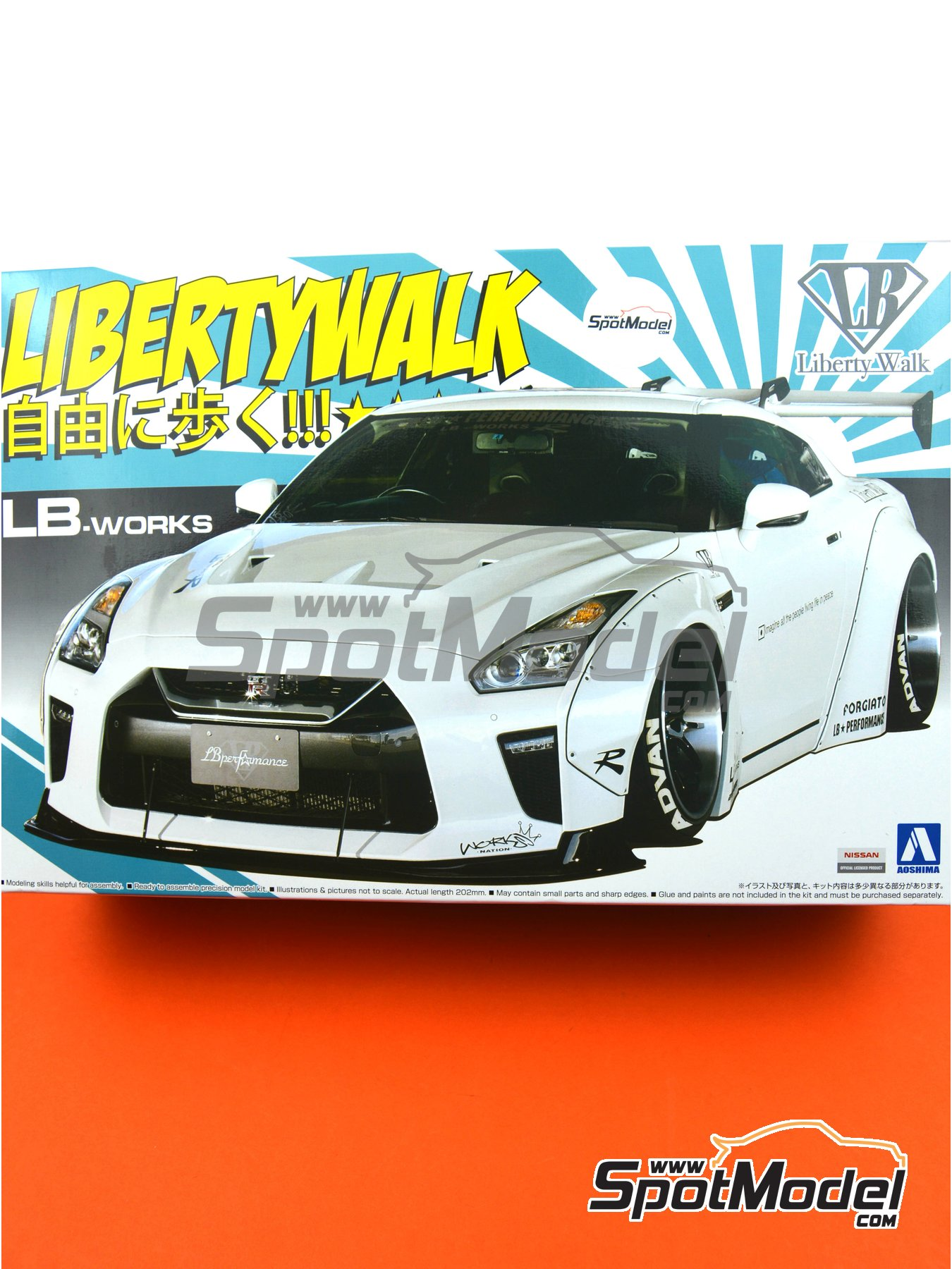 Liberty Walk LB Works Nissan R35 GT-R Type 1.5 | Model car kit in 1/24 scale manufactured by Aoshima (ref.05590) image