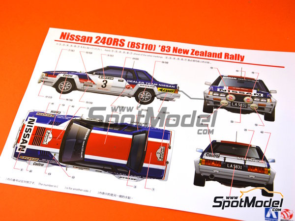 Image 14: Nissan 240RS BS110 - New Zealand rally 1983 | Model car kit in 1/24 scale manufactured by Aoshima (ref. 08579)