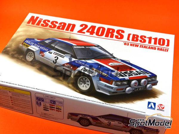 Image 15: Nissan 240RS BS110 - New Zealand rally 1983 | Model car kit in 1/24 scale manufactured by Aoshima (ref. 08579)