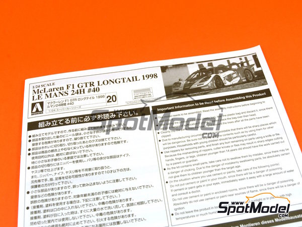 Image 15: McLaren F1 GTR Long Tail EMI Ueno Clinic - 24 Horas de Le Mans 1998 | Maqueta de coche en escala1/24 fabricado por Aoshima (ref.AOS01418)