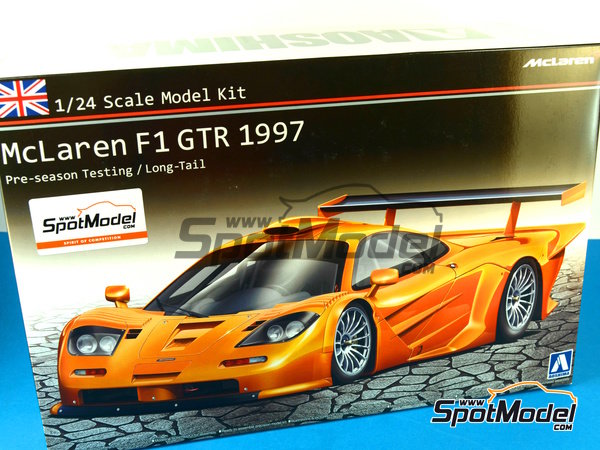 Image 22: McLaren F1 GTR Long Tail - Test version 1997 | Model car kit in 1/24 scale manufactured by Aoshima (ref. AOSH-00749)