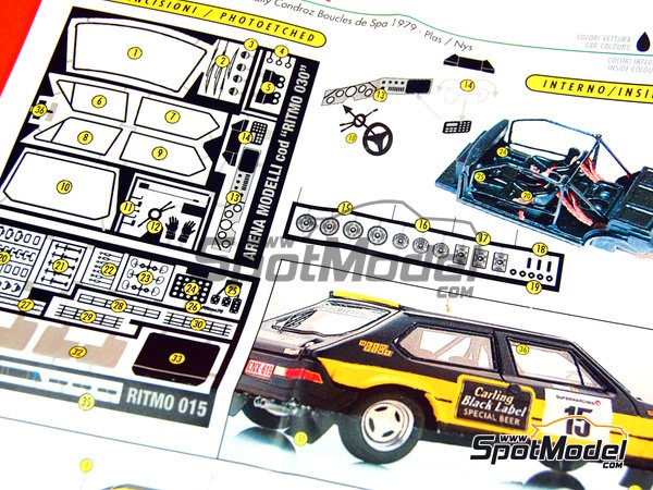 Image 16: Fiat Ritmo 75 Carling - Condroz Rally 1979 | Model car kit in 1/43 scale manufactured by Arena (ref. ARE545)