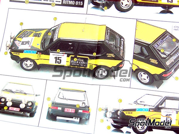 Image 17: Fiat Ritmo 75 Carling - Condroz Rally 1979 | Model car kit in 1/43 scale manufactured by Arena (ref. ARE545)