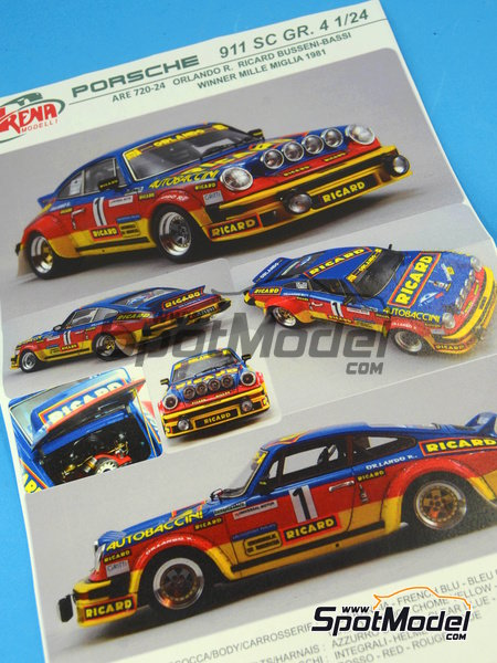 Porsche 911SC Group 4 Ricard - Mile Miglia 1981 | Model car kit in 1/24 scale manufactured by Arena (ref.ARE720-24) image