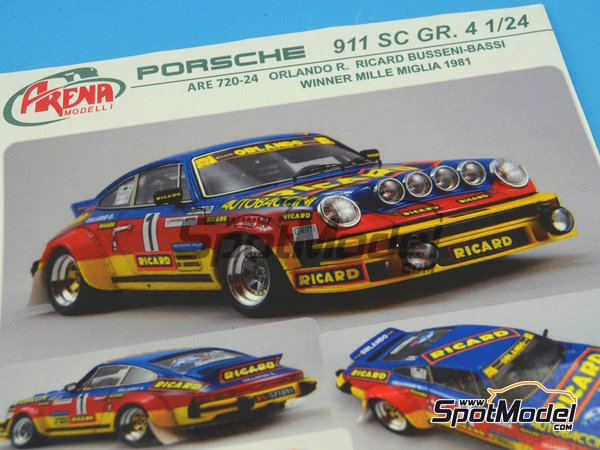 Image 17: Porsche 911SC Group 4 Ricard - Mile Miglia 1981 | Model car kit in 1/24 scale manufactured by Arena (ref.ARE720-24)