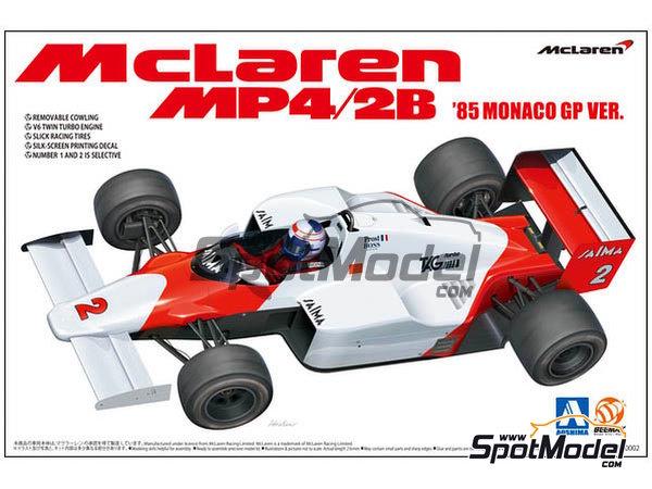 Image 1: McLaren MP4/2B TAG Porsche Marlboro - Monaco Formula 1 Grand Prix 1985 | Model car kit in 1/20 scale manufactured by Beemax Model Kits (ref.B20002, also Aoshima 081914)