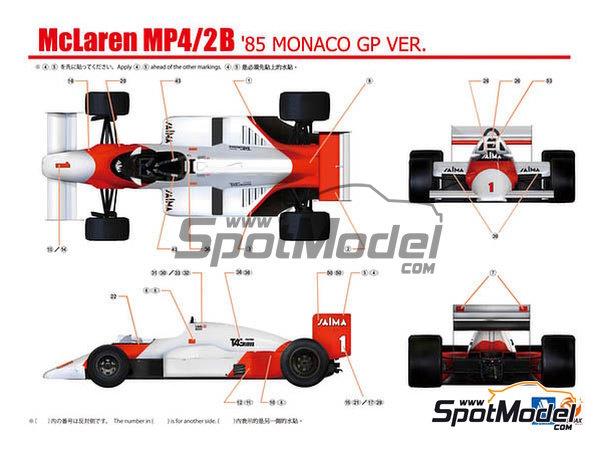 Image 4: McLaren MP4/2B TAG Porsche Marlboro - Monaco Formula 1 Grand Prix 1985 | Model car kit in 1/20 scale manufactured by Beemax Model Kits (ref.B20002, also Aoshima 081914)