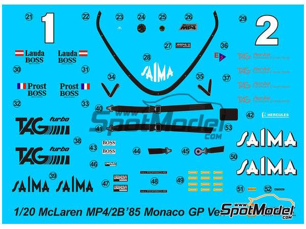 Image 5: McLaren MP4/2B TAG Porsche Marlboro - Monaco Formula 1 Grand Prix 1985 | Model car kit in 1/20 scale manufactured by Beemax Model Kits (ref.B20002, also Aoshima 081914)