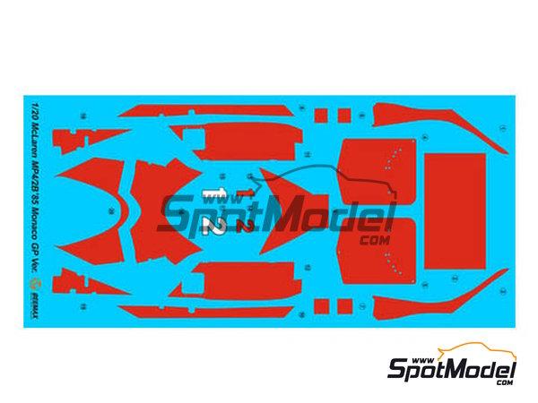 Image 6: McLaren MP4/2B TAG Porsche Marlboro - Monaco Formula 1 Grand Prix 1985 | Model car kit in 1/20 scale manufactured by Beemax Model Kits (ref.B20002, also Aoshima 081914)