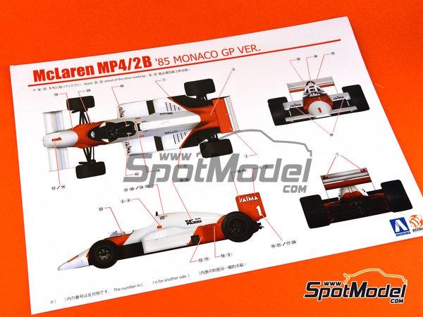 Image 9: McLaren MP4/2B TAG Porsche Marlboro - Monaco Formula 1 Grand Prix 1985 | Model car kit in 1/20 scale manufactured by Beemax Model Kits (ref.B20002, also Aoshima 081914)