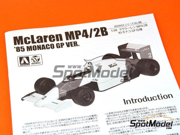 Image 14: McLaren MP4/2B TAG Porsche Marlboro - Monaco Formula 1 Grand Prix 1985 | Model car kit in 1/20 scale manufactured by Beemax Model Kits (ref.B20002, also Aoshima 081914)