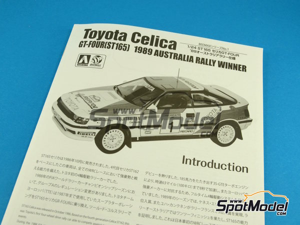 Image 8: Toyota Celica GT-Four ST165 Repsol - Australian Rally 1989 | Model car kit in 1/24 scale manufactured by Beemax Model Kits (ref. B24001, also Aoshima 081198)