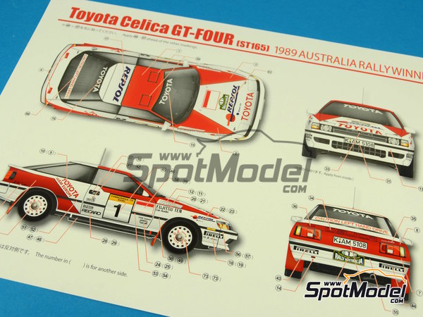 Image 16: Toyota Celica GT-Four ST165 Repsol - Australian Rally 1989 | Model car kit in 1/24 scale manufactured by Beemax Model Kits (ref. B24001, also Aoshima 081198)
