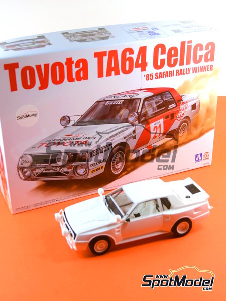 Toyota TA64 Celica - Safari Rally 1985 | Model car kit in 1/24 scale manufactured by Beemax Model Kits (ref.B24004, also Aoshima 084564) image