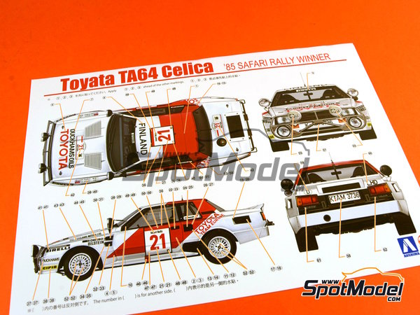 Image 1: Toyota TA64 Celica - Safari Rally 1985 | Model car kit in 1/24 scale manufactured by Beemax Model Kits (ref.B24004, also Aoshima 084564)