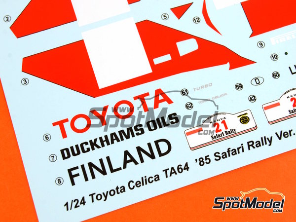 Image 26: Toyota TA64 Celica - Safari Rally 1985 | Model car kit in 1/24 scale manufactured by Beemax Model Kits (ref.B24004, also Aoshima 084564)