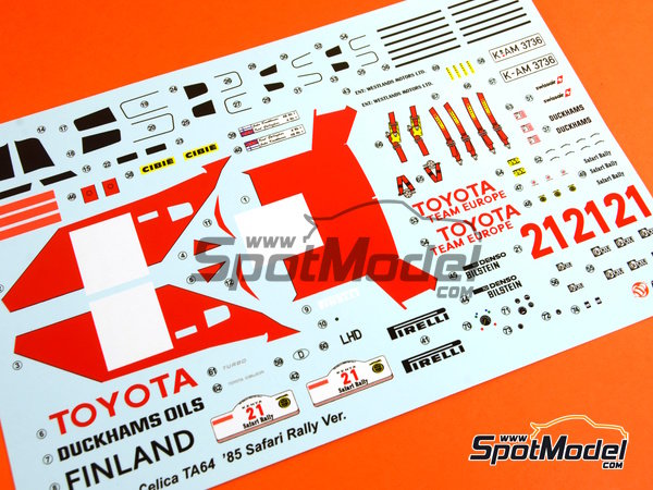 Image 27: Toyota TA64 Celica - Safari Rally 1985 | Model car kit in 1/24 scale manufactured by Beemax Model Kits (ref.B24004, also Aoshima 084564)