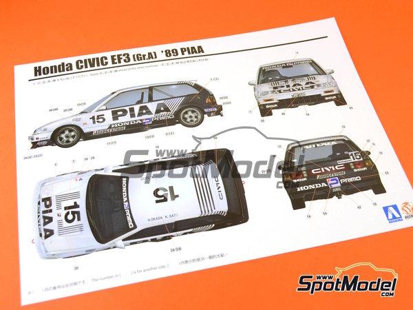 Image 12: Honda Civic EF3 Grupo A PIAA | Maqueta de coche en escala1/24 fabricado por Beemax Model Kits (ref.B24005, tambien Aoshima 084588)