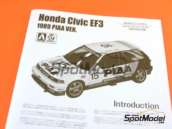 Image 13: Honda Civic EF3 Grupo A PIAA | Maqueta de coche en escala1/24 fabricado por Beemax Model Kits (ref.B24005, tambien Aoshima 084588)