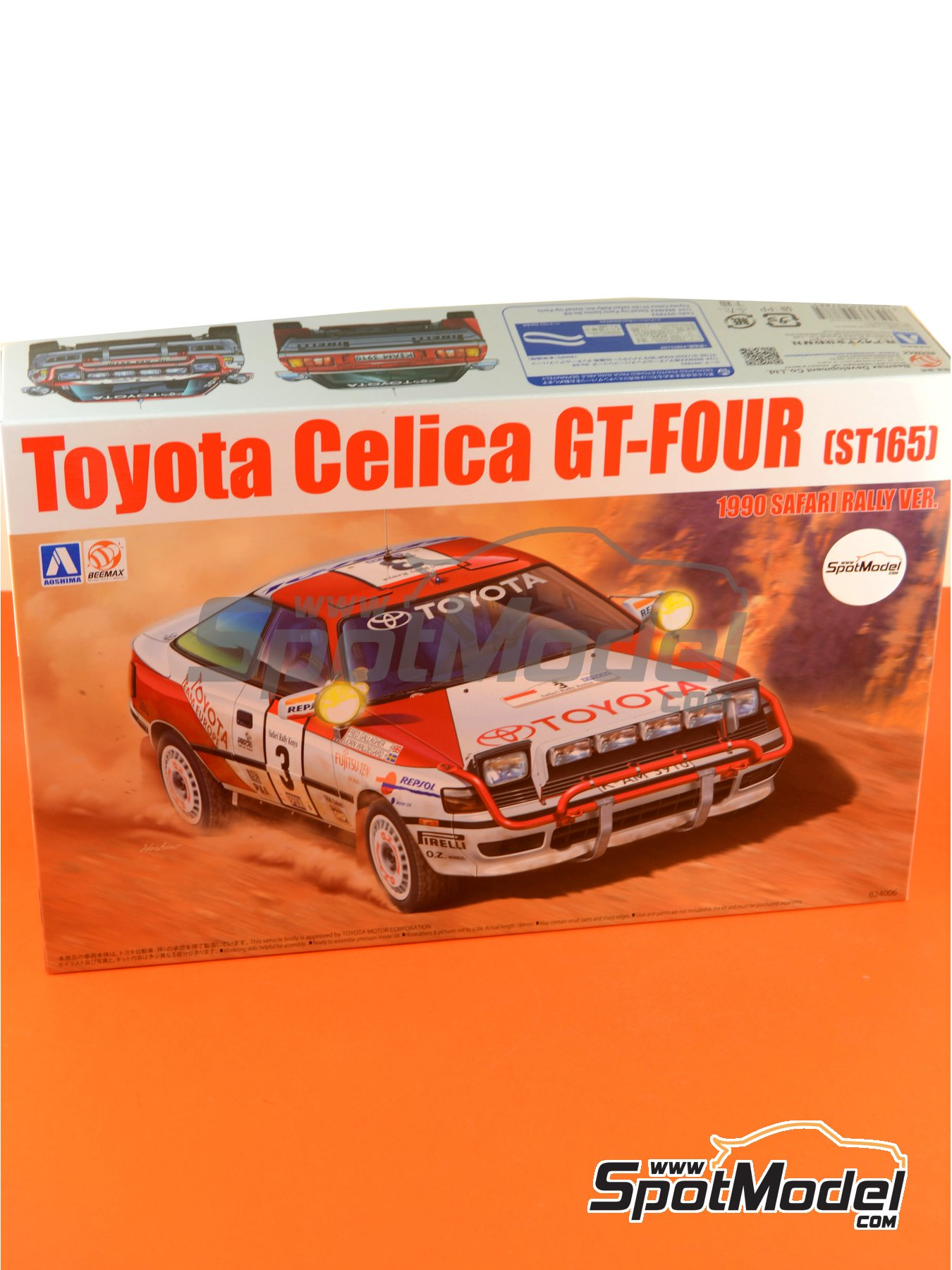 Toyota Celica GT-Four ST165 Group A Repsol - Safari Rally 1990 | Model car kit in 1/24 scale manufactured by Beemax Model Kits (ref.B24006, also Aoshima 097885) image