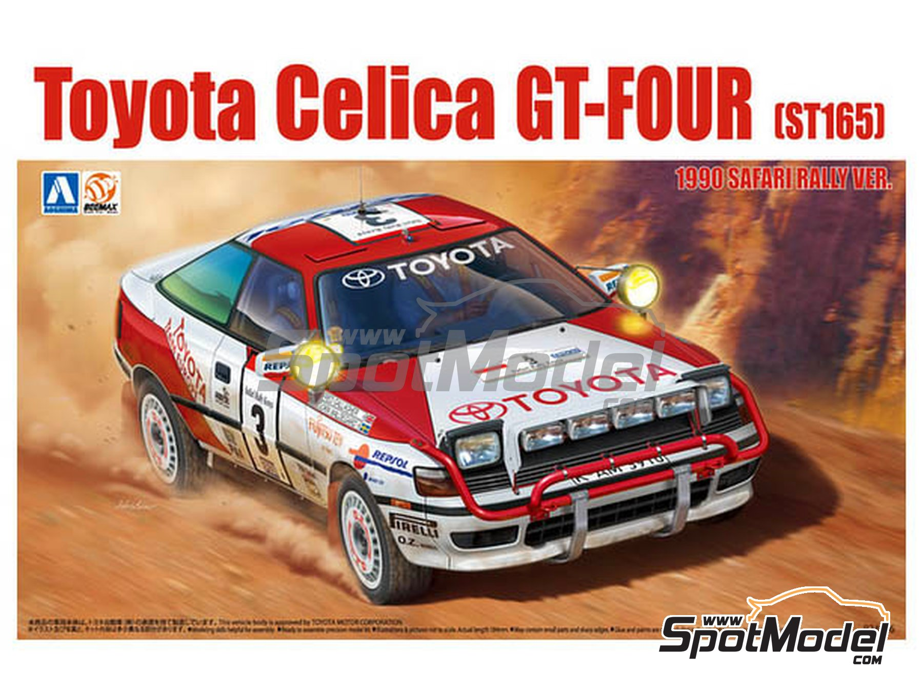 Image 1: Toyota Celica GT-Four ST165 Group A Repsol - Safari Rally 1990 | Model car kit in 1/24 scale manufactured by Beemax Model Kits (ref.B24006, also Aoshima 097885)