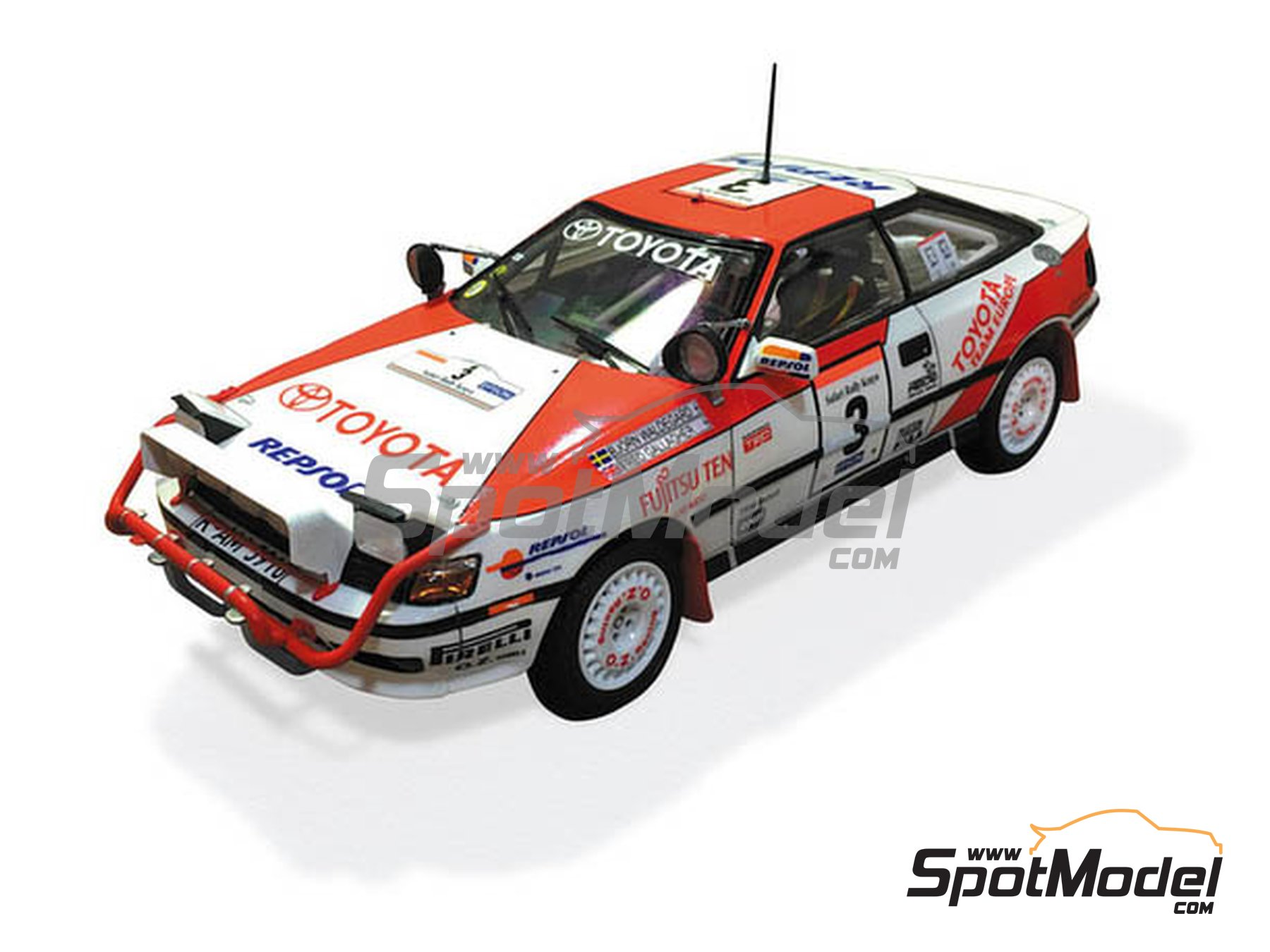 Image 3: Toyota Celica GT-Four ST165 Group A Repsol - Safari Rally 1990 | Model car kit in 1/24 scale manufactured by Beemax Model Kits (ref.B24006, also Aoshima 097885)