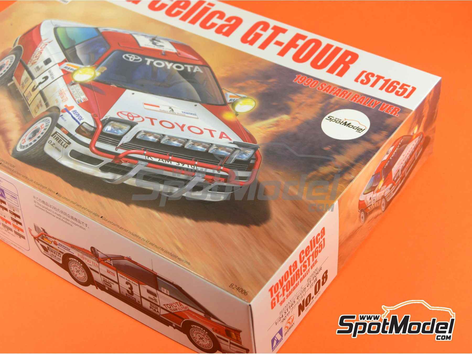 Image 19: Toyota Celica GT-Four ST165 Group A Repsol - Safari Rally 1990 | Model car kit in 1/24 scale manufactured by Beemax Model Kits (ref.B24006, also Aoshima 097885)
