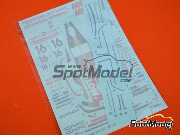 Image 11: Honda Civic EF3 Group A Motul Castrol -  1988 | Model car kit in 1/24 scale manufactured by Beemax Model Kits (ref. B24009)