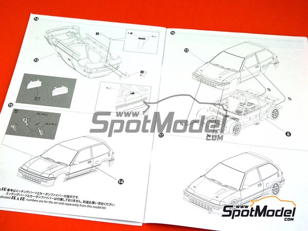 Image 16: Honda Civic EF3 Group A Motul Castrol -  1988 | Model car kit in 1/24 scale manufactured by Beemax Model Kits (ref. B24009)