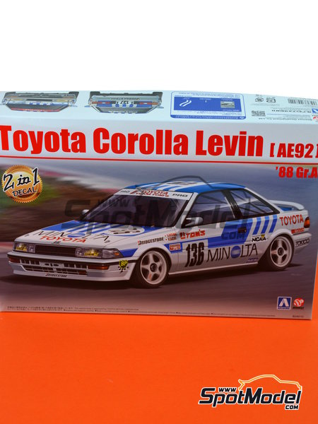 Toyota Corolla Levin AE92 Group A Minolta -  1988 | Model car kit in 1/24 scale manufactured by Beemax Model Kits (ref. B24010, also Aoshima 098240) image