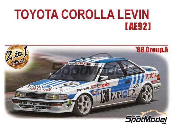 Image 1: Toyota Corolla Levin AE92 Group A Minolta -  1988 | Model car kit in 1/24 scale manufactured by Beemax Model Kits (ref. B24010, also Aoshima 098240)