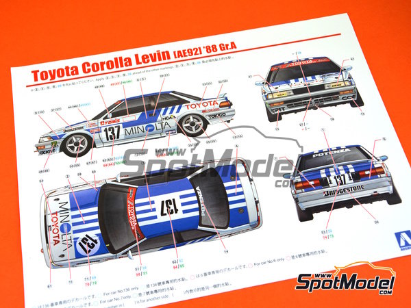 Image 16: Toyota Corolla Levin AE92 Group A Minolta -  1988 | Model car kit in 1/24 scale manufactured by Beemax Model Kits (ref. B24010, also Aoshima 098240)
