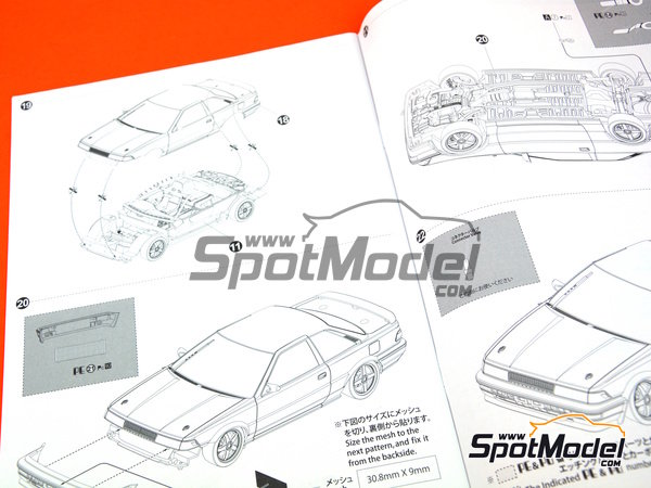 Image 20: Toyota Corolla Levin AE92 Group A Minolta -  1988 | Model car kit in 1/24 scale manufactured by Beemax Model Kits (ref. B24010, also Aoshima 098240)