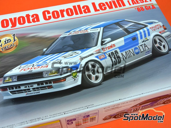 Image 22: Toyota Corolla Levin AE92 Group A Minolta -  1988 | Model car kit in 1/24 scale manufactured by Beemax Model Kits (ref. B24010)