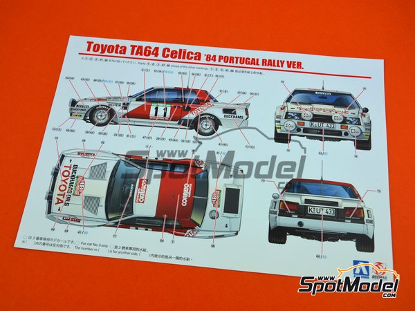 Image 13: Toyota TA64 Celica Duckhams Oils - Portugal Rally 1984 | Model car kit in 1/24 scale manufactured by Beemax Model Kits (ref. B24011)