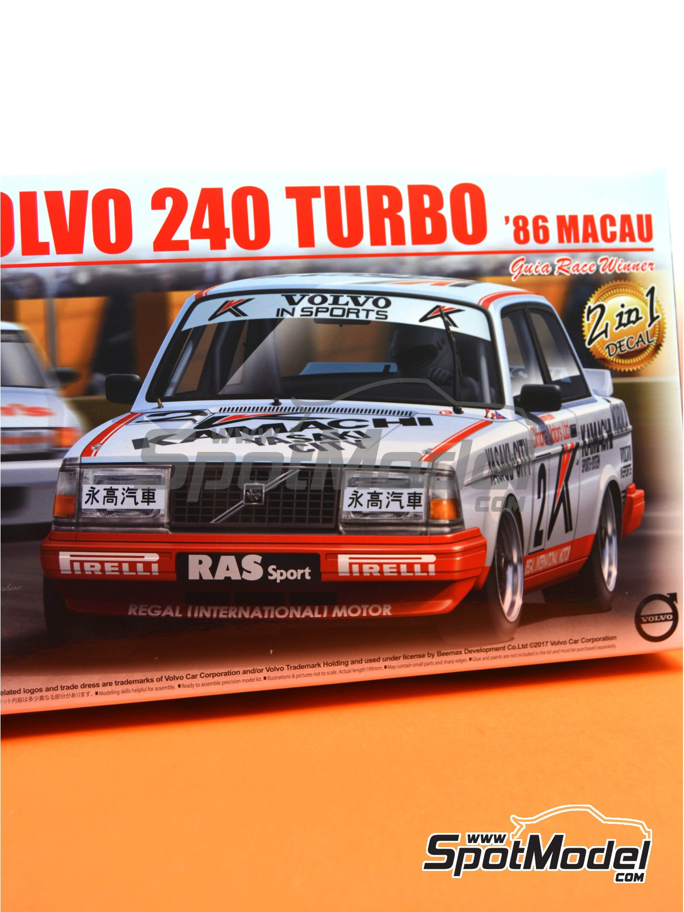 Volvo 240 Turbo Group A Kamachi - Volvo Dealer Team Europe - Inter TEC championship Fuji Speedway, Guia Race of Macau 1985 and 1986 | Model car kit in 1/24 scale manufactured by Beemax Model Kits (ref. B24012) image