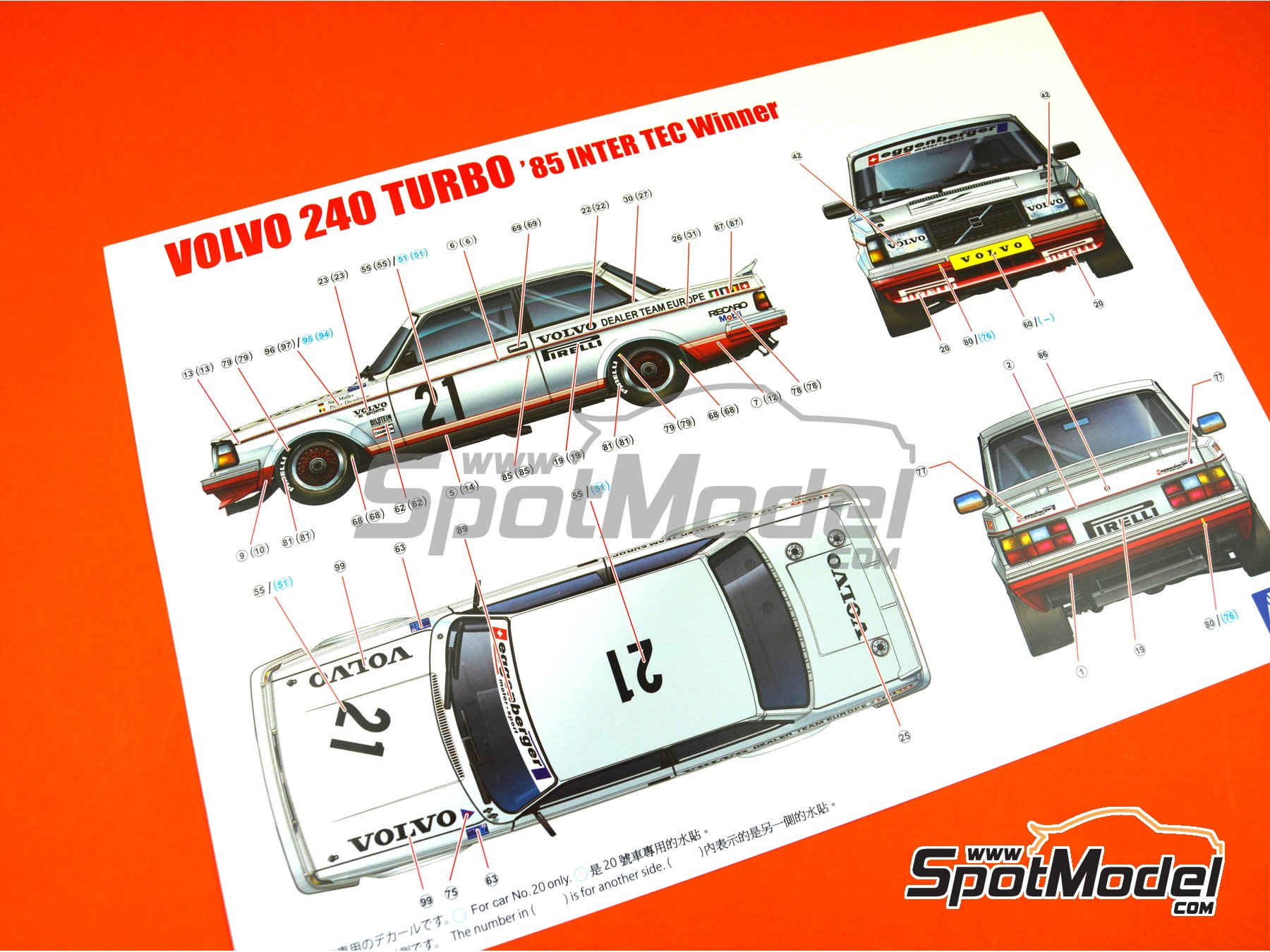 Image 13: Volvo 240 Turbo Group A Kamachi - Volvo Dealer Team Europe - Inter TEC championship Fuji Speedway, Guia Race of Macau 1985 and 1986 | Model car kit in 1/24 scale manufactured by Beemax Model Kits (ref. B24012)