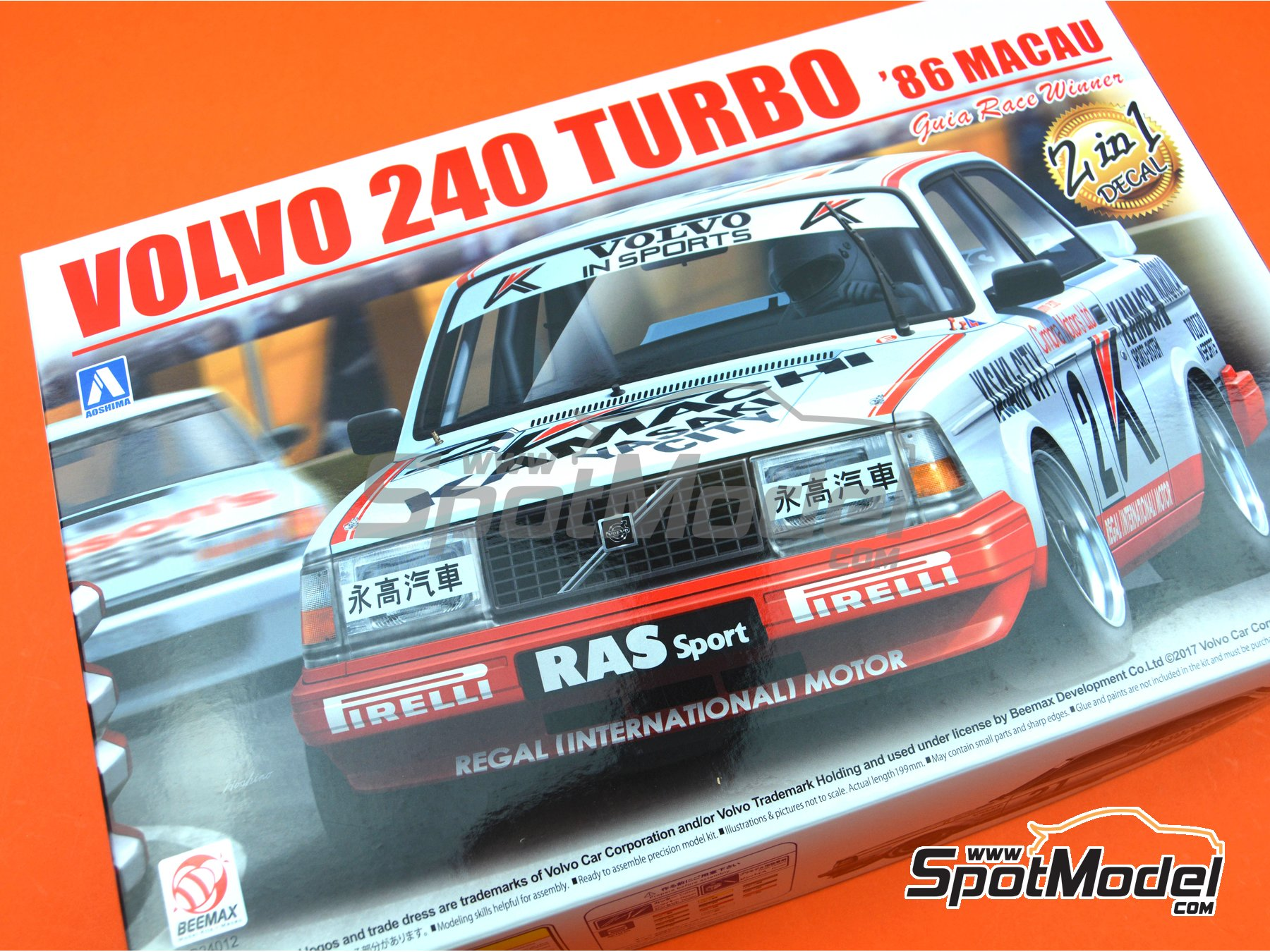 Image 21: Volvo 240 Turbo Group A Kamachi - Volvo Dealer Team Europe - Inter TEC championship Fuji Speedway, Guia Race of Macau 1985 and 1986 | Model car kit in 1/24 scale manufactured by Beemax Model Kits (ref. B24012)