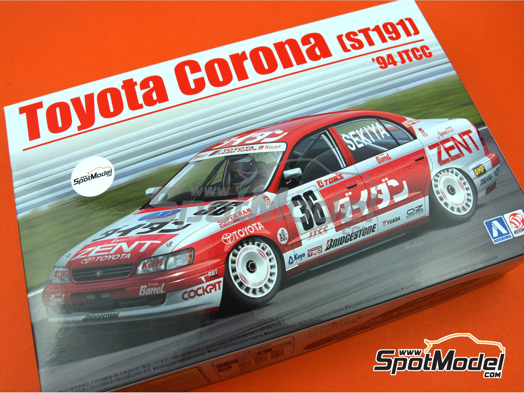 Image 25: Toyota Corona ST191 Zent - Japan Touring Car Championship - JTCC 1994 | Model car kit in 1/24 scale manufactured by Beemax Model Kits (ref.B24013)