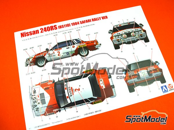 Image 20: Nissan 240RS BS110 Group B - Safari Rally 1984 | Model car kit in 1/24 scale manufactured by Beemax Model Kits (ref. B24014)