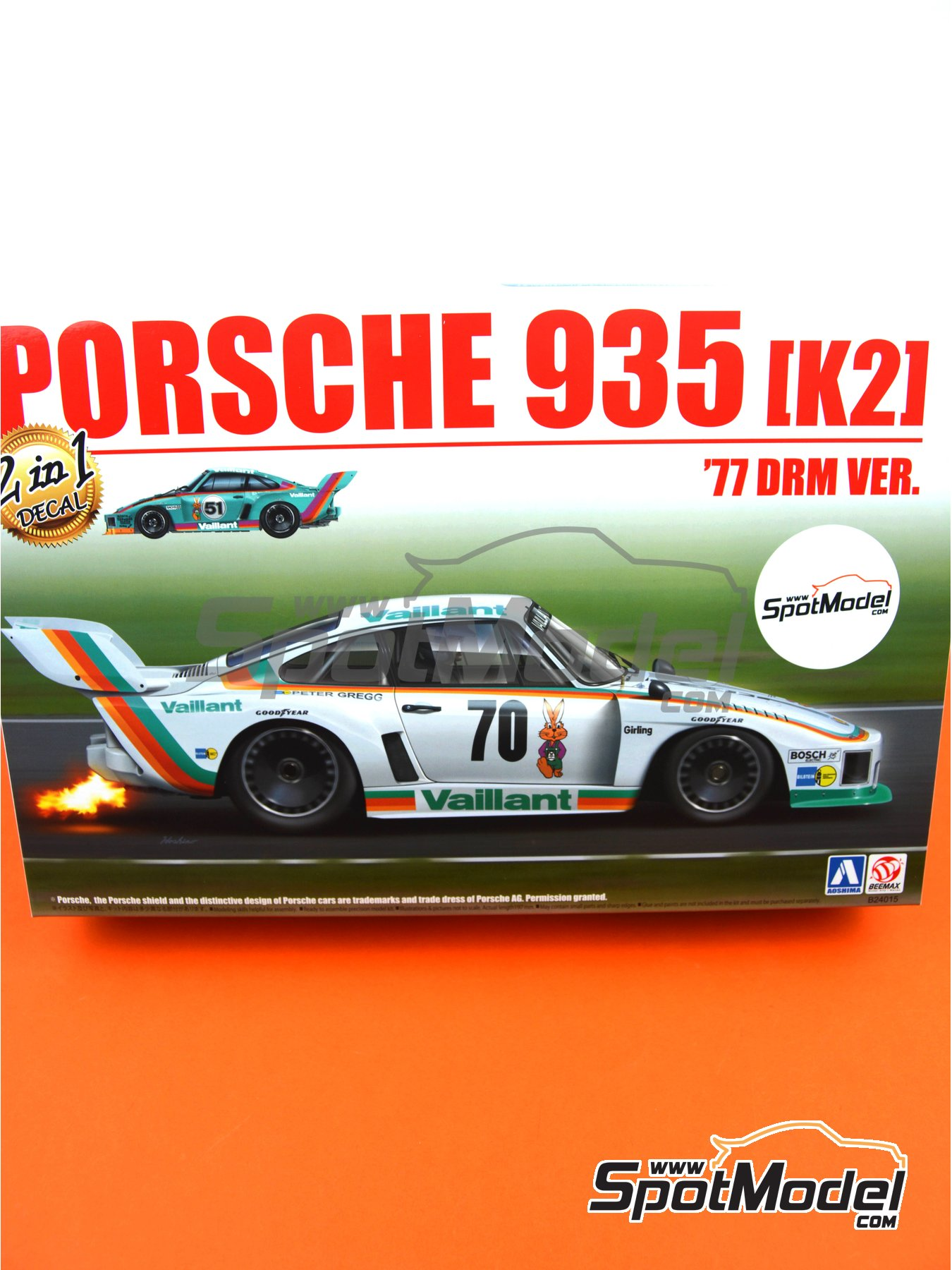 Porsche 935 K2 Kremer Vaillant - Deutsche Rennsport Meisterschaft DRM 1977 | Model car kit in 1/24 scale manufactured by Beemax Model Kits (ref. B24015, also 105108, aos10510 and 4905083105108) image