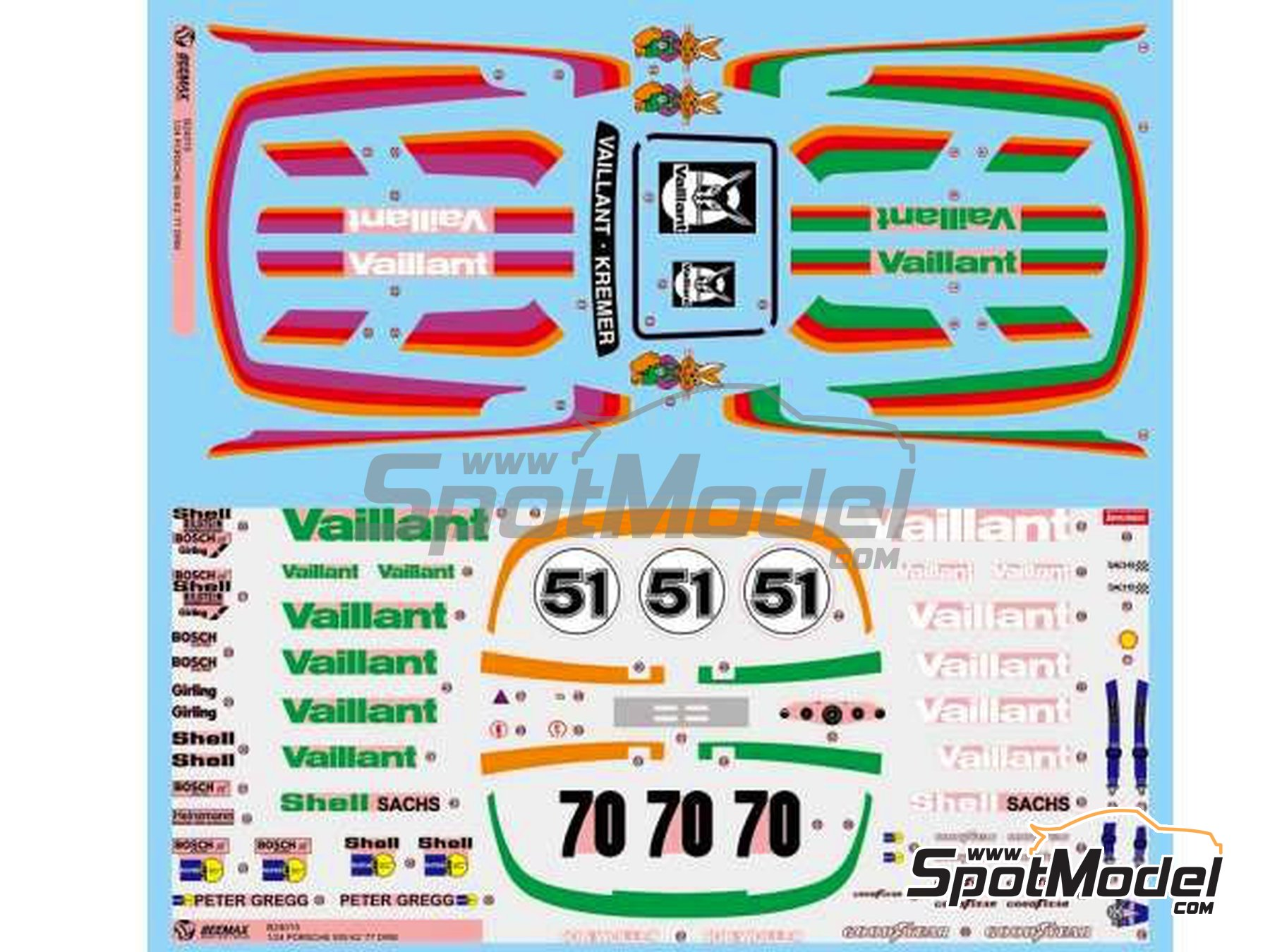Image 11: Porsche 935 K2 Kremer Vaillant - 1000 kilómetros de Nürburgring 1970 | Maqueta de coche en escala1/24 fabricado por Beemax Model Kits (ref.B24015)