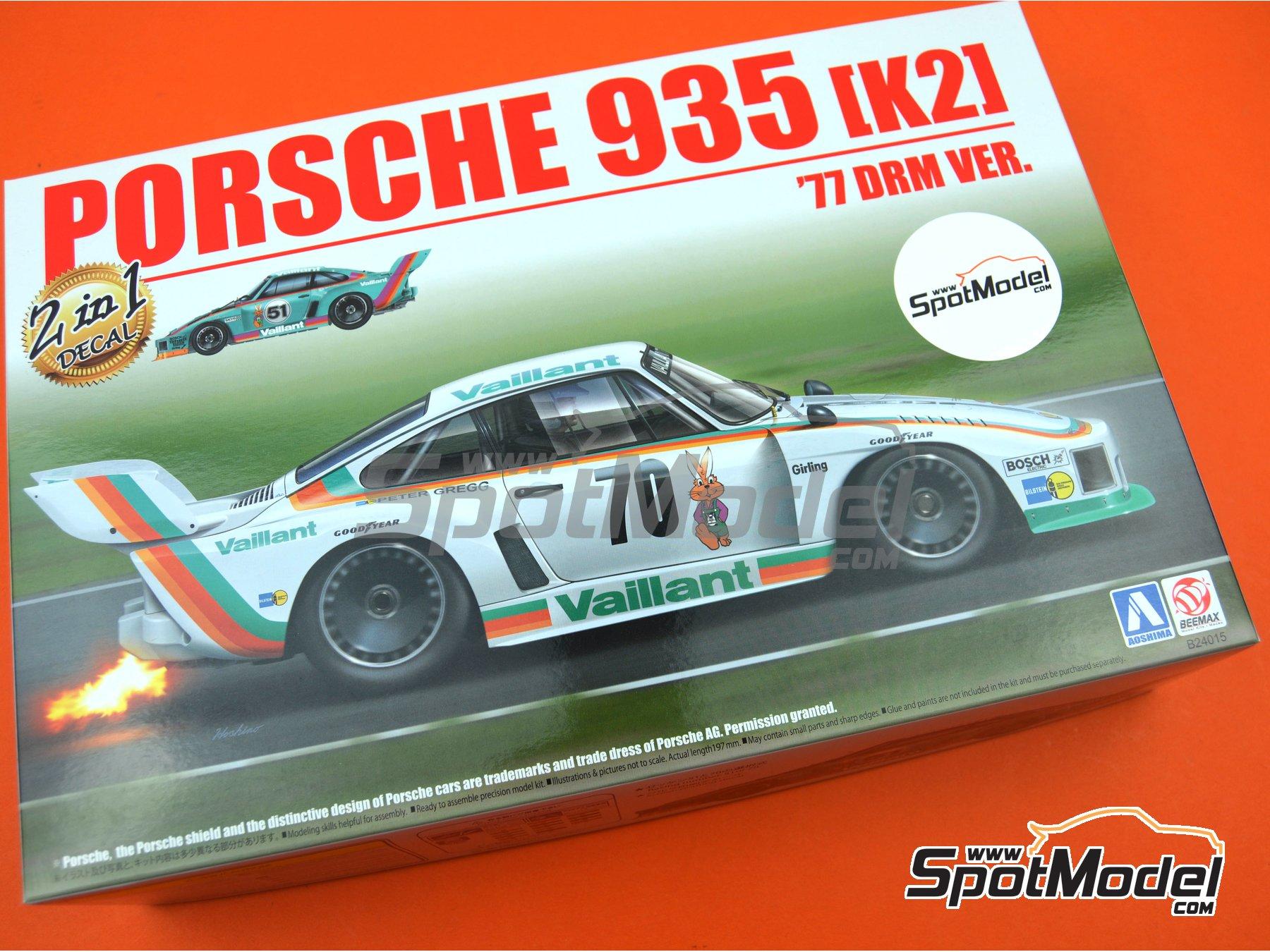 Image 12: Porsche 935 K2 Kremer Vaillant - Campeonato Alemán de Automovilismo - Deutsche Rennsport Meisterschaft DRM 1977 | Maqueta de coche en escala1/24 fabricado por Beemax Model Kits (ref.B24015, tambien 105108, aos10510 y 4905083105108)