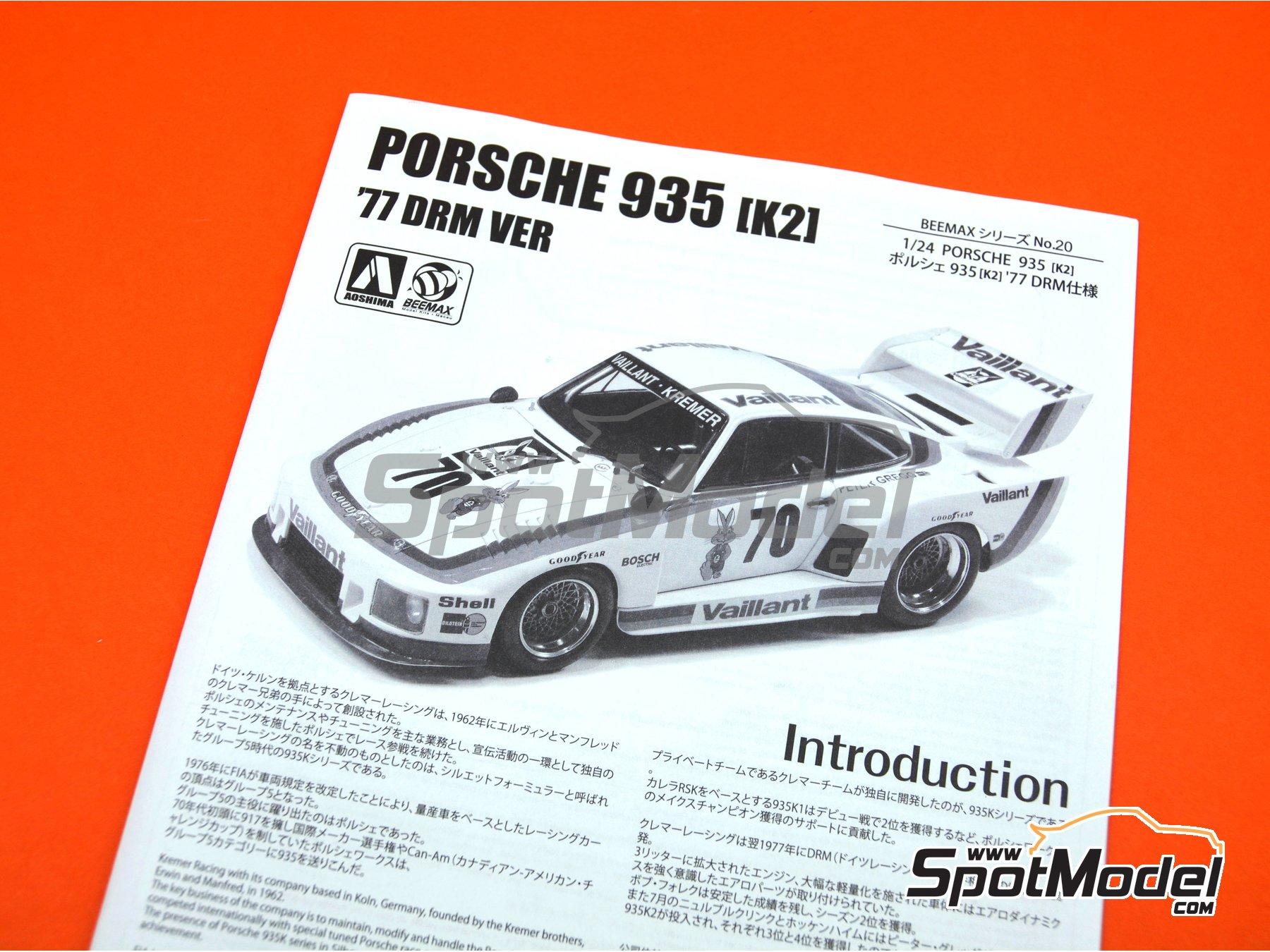 Image 25: Porsche 935 K2 Kremer Vaillant - Campeonato Alemán de Automovilismo - Deutsche Rennsport Meisterschaft DRM 1977 | Maqueta de coche en escala1/24 fabricado por Beemax Model Kits (ref.B24015, tambien 105108, aos10510 y 4905083105108)