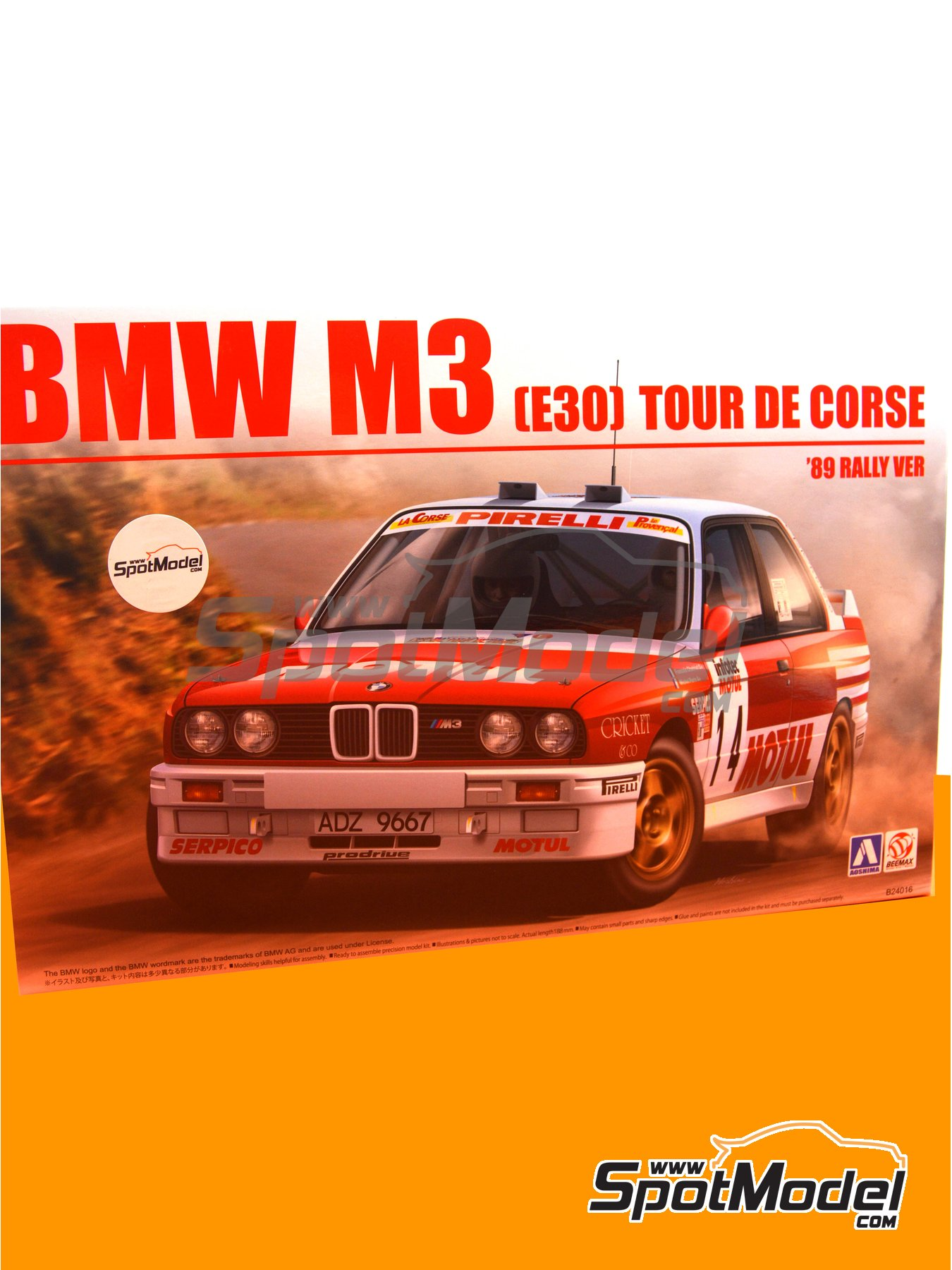 BMW M3 E30 Rally Group A Bastos Motul - Tour de Corse 1988 | Model car kit in 1/24 scale manufactured by Beemax Model Kits (ref. B24016) image