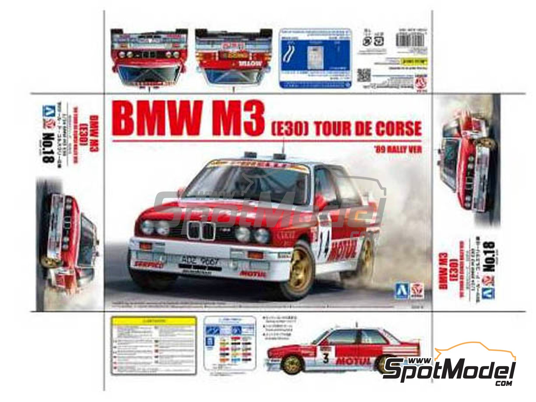 Image 5: BMW M3 E30 Rally Bastos Motul - Tour de Corse 1988 | Model car kit in 1/24 scale manufactured by Beemax Model Kits (ref. B24016)