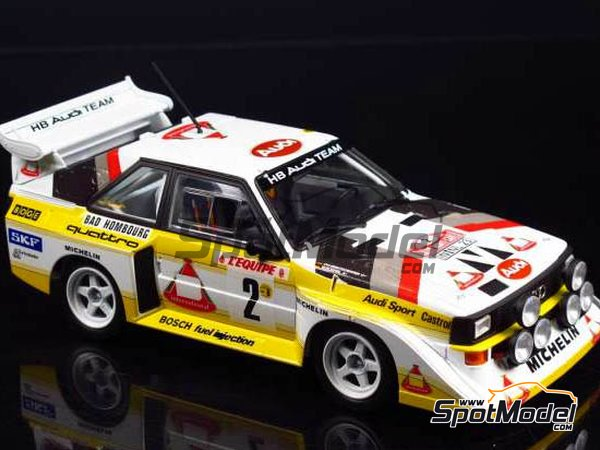 Image 9: Audi Quattro Sport S1 HB Audi Team - Montecarlo Rally 1985 | Model car kit in 1/24 scale manufactured by Beemax Model Kits (ref.B24017, also Aoshima 10398)