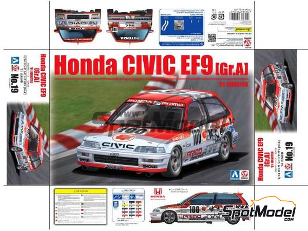 Image 1: Honda Civic EF9 Group A Primo -  1992 | Model car kit in 1/24 scale manufactured by Beemax Model Kits (ref.B24018)