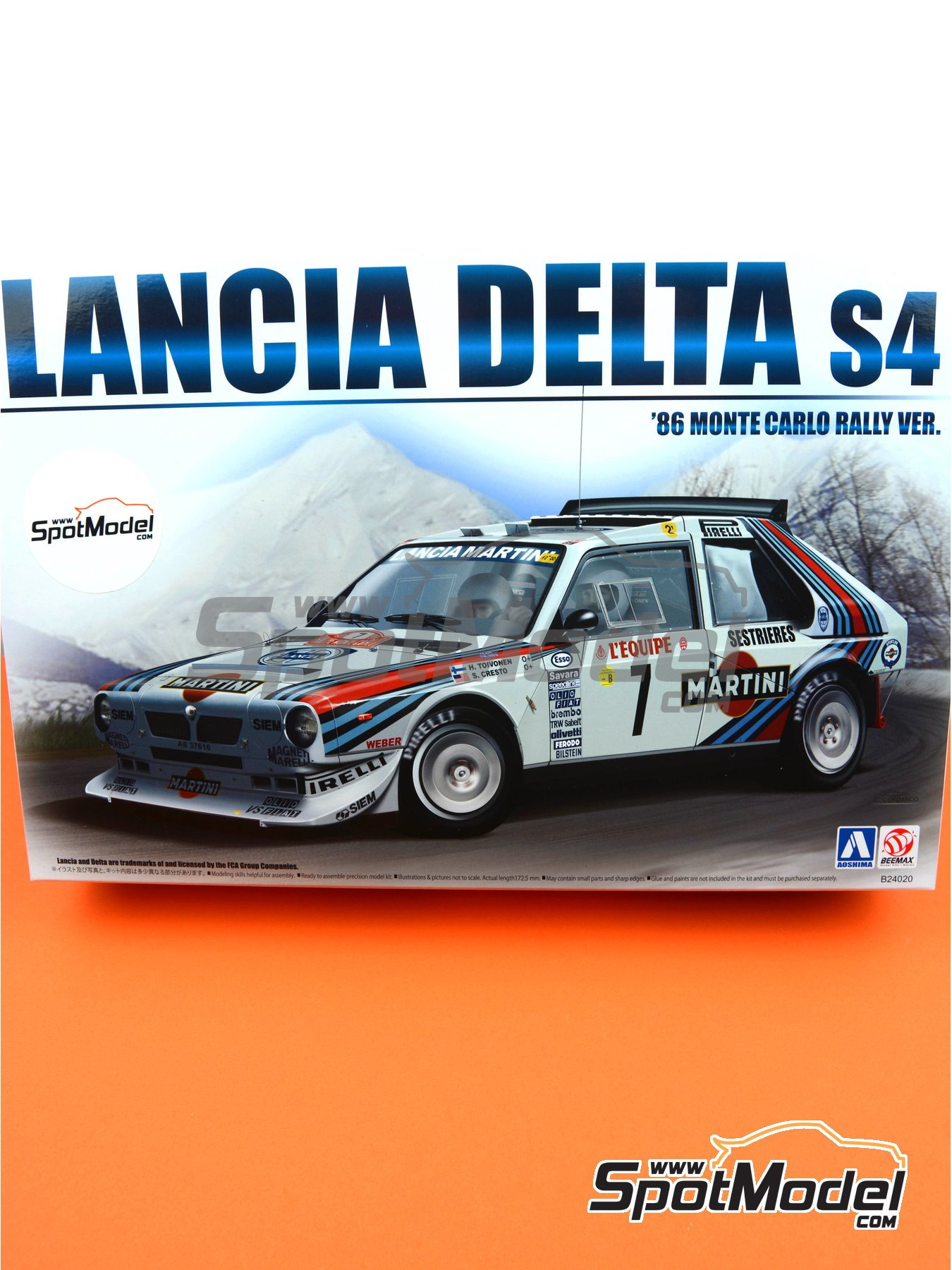 Lancia Delta S4 Martini Racing Team - Montecarlo Rally - Rallye Automobile de Monte-Carlo 1986 | Model car kit in 1/24 scale manufactured by Beemax Model Kits (ref. B24020, also 09885) image